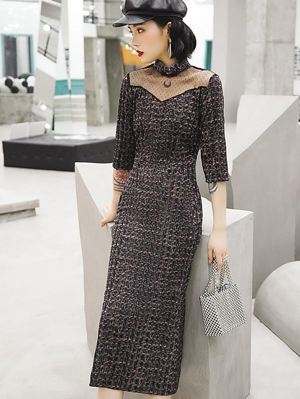 Gray Grid Velvet Fishtail Qipao / Cheongsam Dress