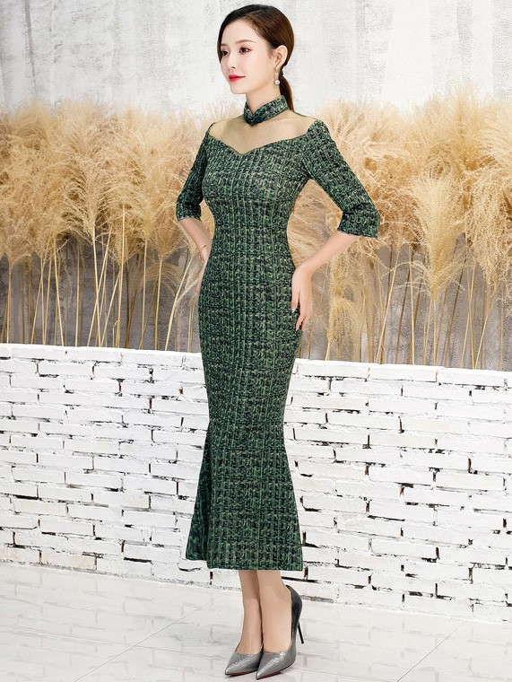 Green Grid Velvet Fishtail Qipao / Cheongsam Dress