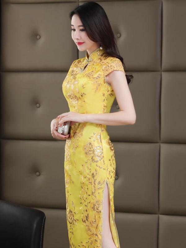 Gold Sequined Long Qipao / Cheongsam Wedding Dress