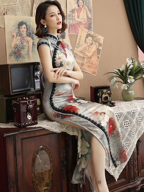 Floral Printing Long Qipao / Cheongsam Party Dress