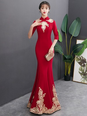 Gold Appliques Long Fishtail Qipao / Cheongsam Wedding Dress