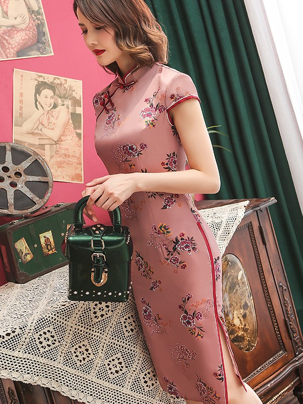 Pink Floral Short Qipao / Cheongsam Party Dress