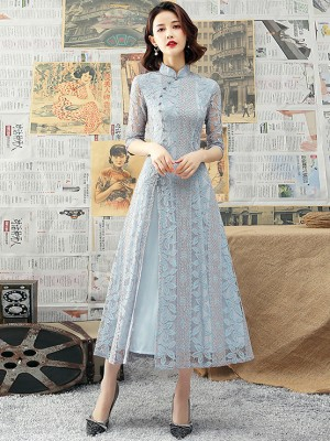 Blue Lace A-Line Tea-Length Qipao / Cheongsam Dress