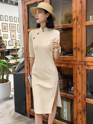 Shimmering Beige Striped Midi Qipao / Cheongsam Dress