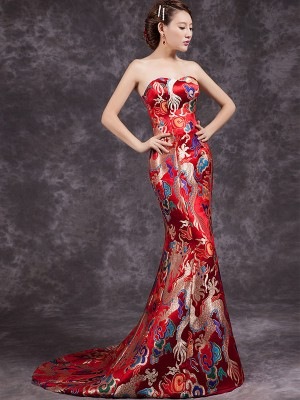 Red Fishtail Cheongsam / Qipao / Chinese Wedding Dress with Dragon Pattern