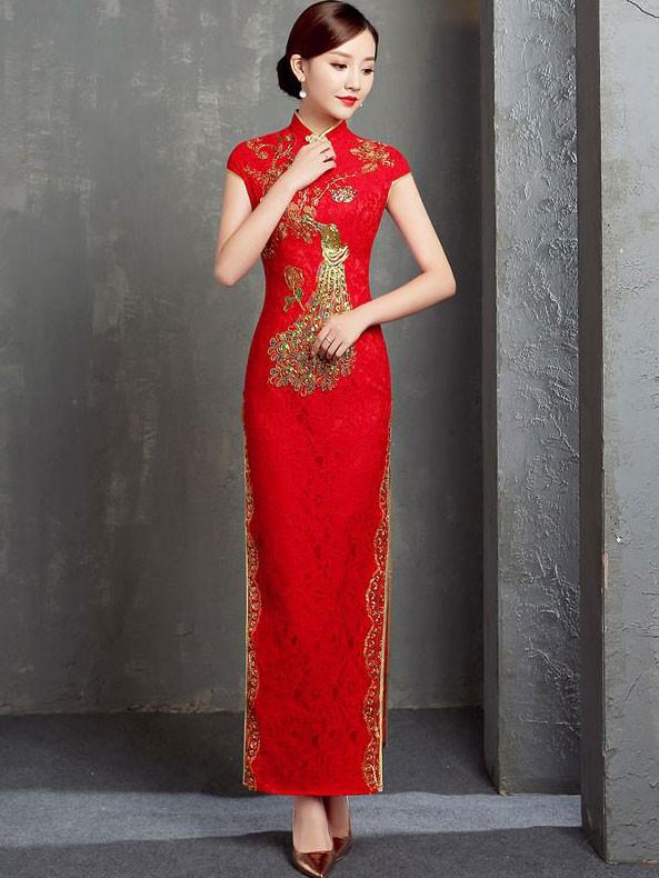 Ankle-length Lace Cheongsam / Qipao Wedding Dress