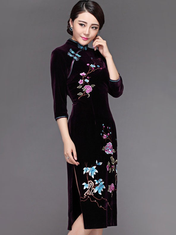 Classic Embroidered Purple Velvet Qipao / Cheongsam Dress