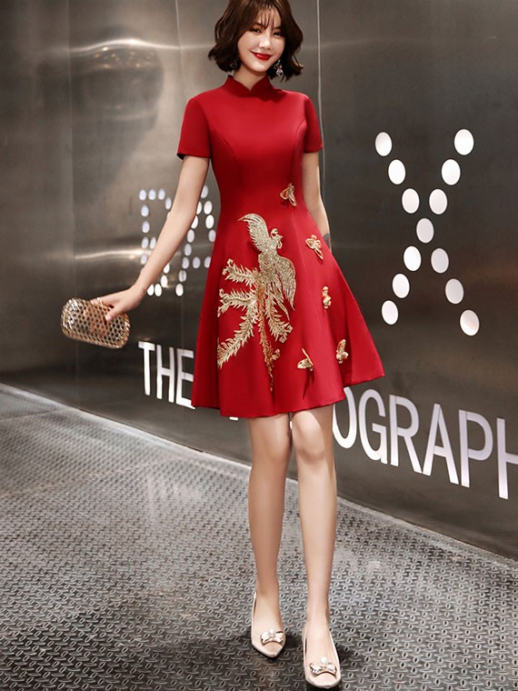 Embroidered Phoenix A-Line Qipao / Cheongsam Party Dress