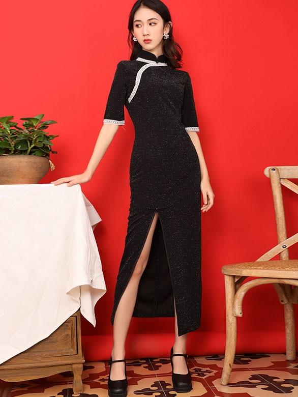 Black Velvet Thigh Split Qipao / Cheongsam Dress