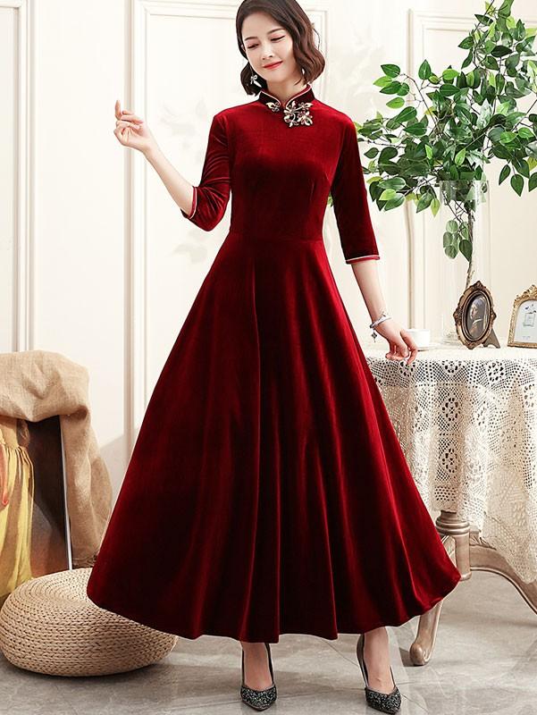 Half Sleeve Velvet A-Line Maxi Qipao / Cheongsam Dress