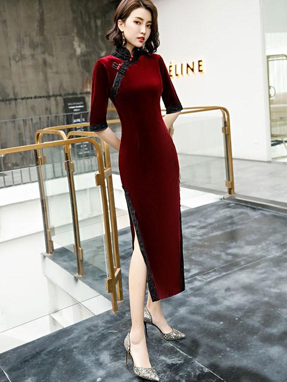 Half Sleeve Velvet Long Qipao / Cheongsam Dress