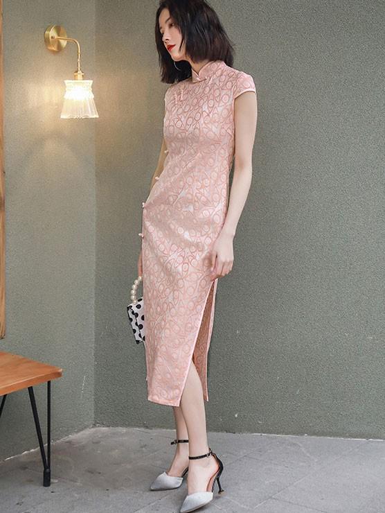 Pink Beige Long Qipao / Cheongsam Evening Dress