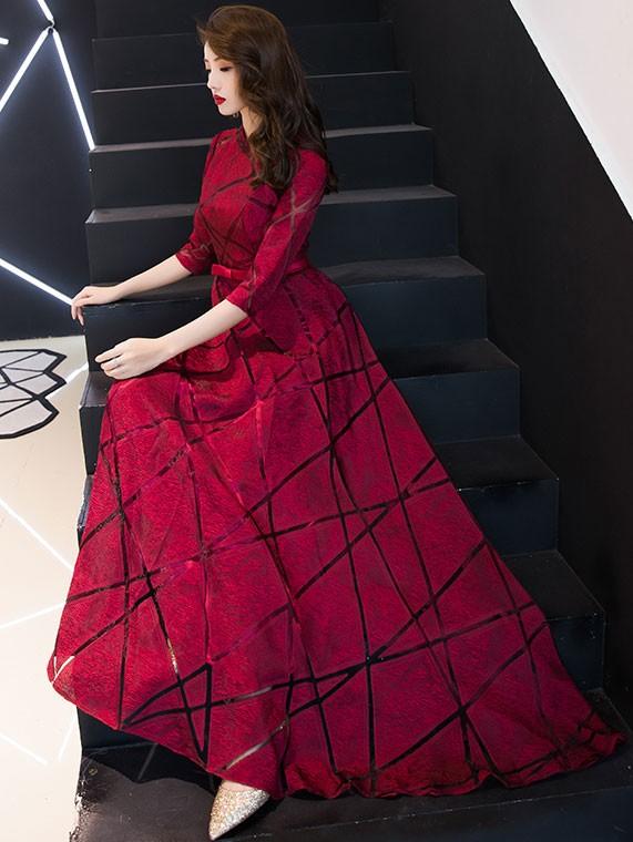 Wine Red A-Line Floor-length Qipao / Cheongsam Wedding Dress