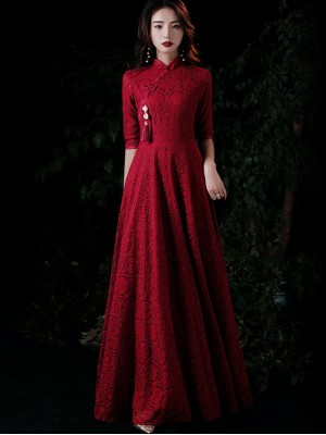 Burgundy Lace A-Line Maxi Qipao / Wedding Cheongsam Dress