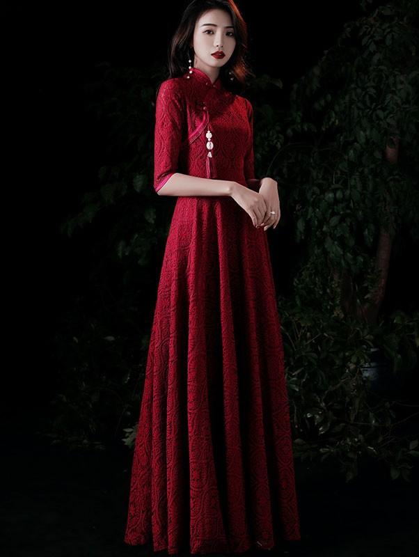 Burgundy Lace A-Line Maxi Qipao / Wedding Cheongsam Dress