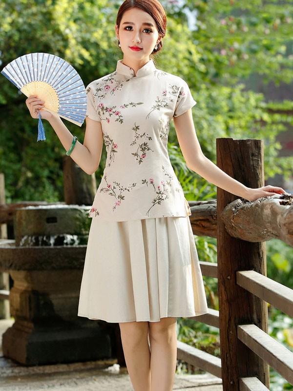 Beige Floral Chinese Qipao / Cheongsam T-Shirt