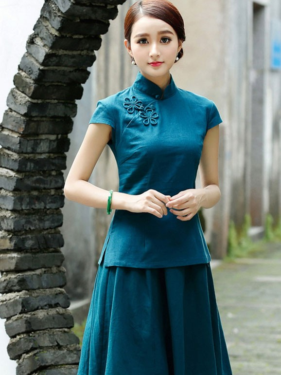 Green Red Short Sleeve Chinese Qipao / Cheongsam Shirt