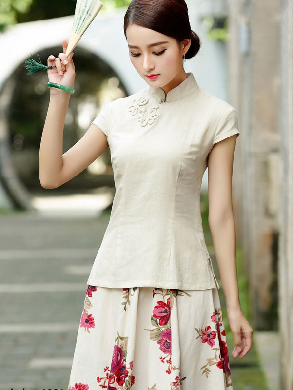 Linen Short Sleeve Chinese Qipao / Cheongsam Shirt