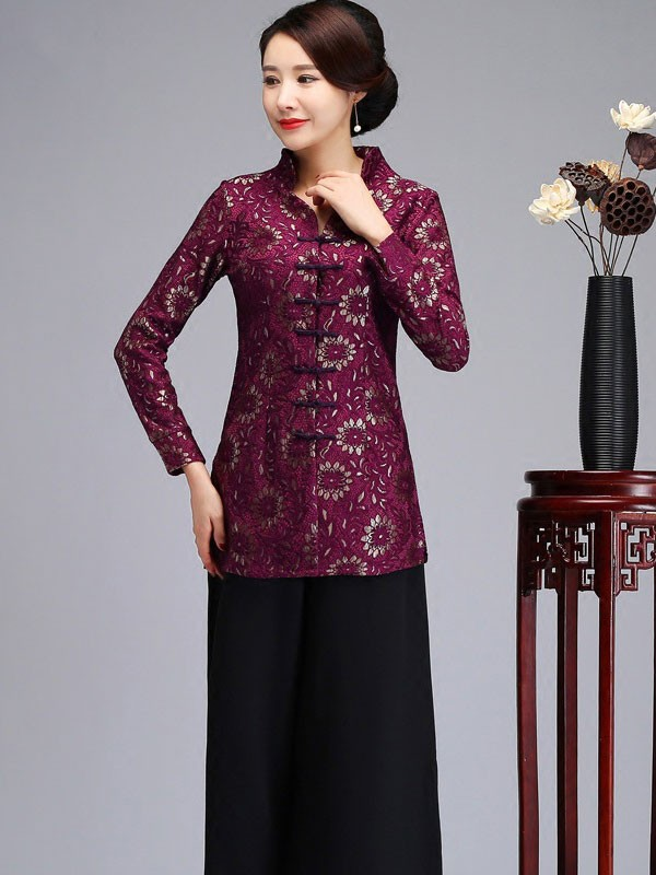 Mother's Red Purple Lace Cheongsam Jacket Blazer