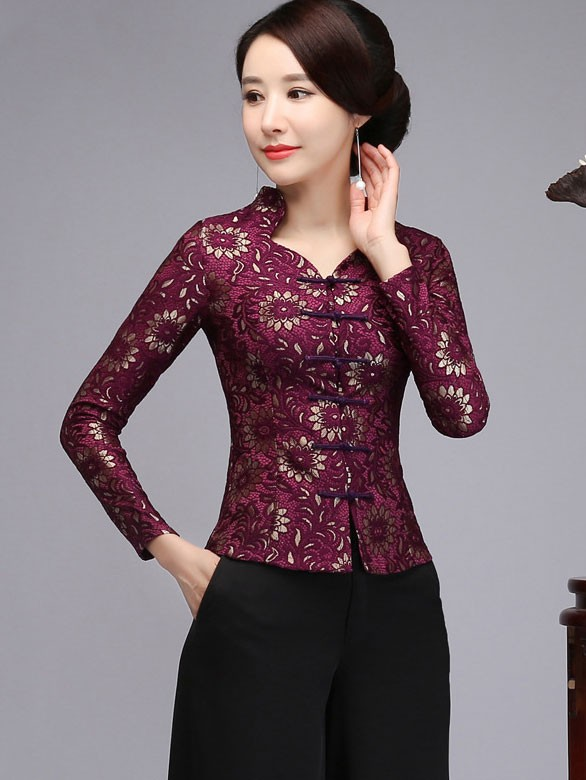 Mother's Red Purple Lace Cheongsam Blouse Top