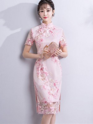 Pink Embroidered Short Qipao / Cheongsam Party Dress