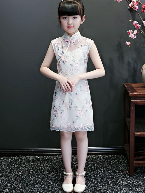 Embroidered Lace Kids Girl's Cheongsam / Qipao Dress