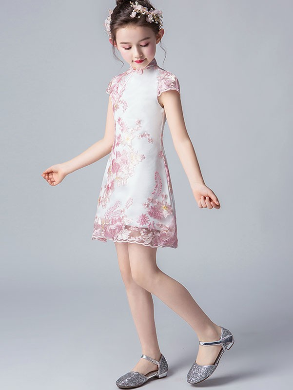 Pink Embroidered Kids Girls Qipao / Cheongsam Dress