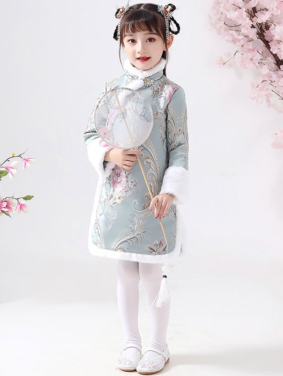 Blue Floral Woven Kids Girl's Qipao / Cheongsam Winter Dress