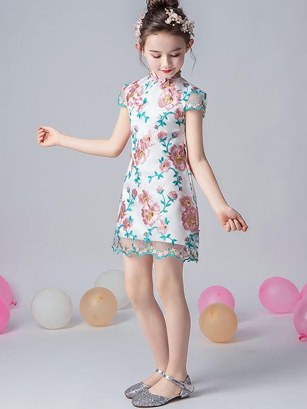 Embroidered Overlay Kids Girl's Qipao / Cheongsam Dress