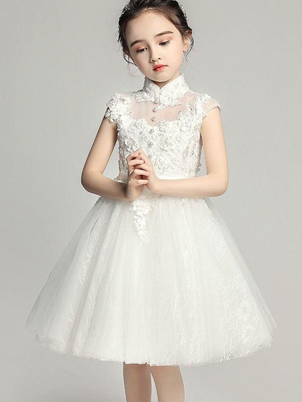 White Flower Girl's Tulle Qipao / Cheongsam Dress