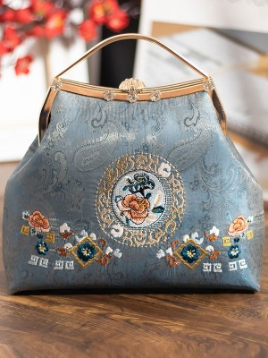 Blue Embroidered Shoulder Cross Top Handle Handbag