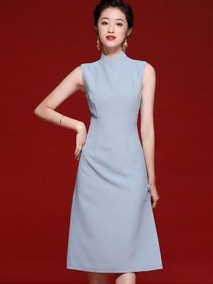 Blue Pink 2020 Summer Midi Qipao / Cheongsam Dress