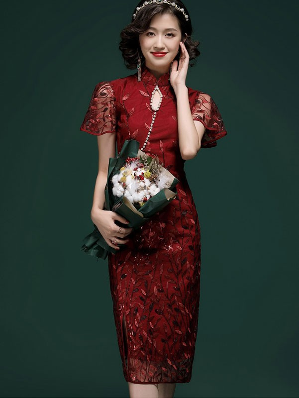 Pearl Sequins Embroidered Qipao / Cheongsam Party Dress