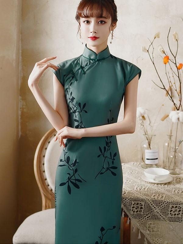 Green Floral Maxi Cheongsam / Qipao Party Dress