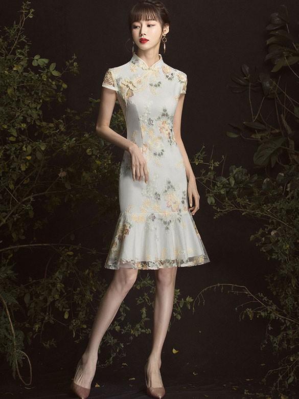 Jacquard  Frill Hem Short Qipao / Cheongsam Party Dress