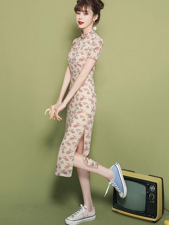 2020 Floral Tea-Length Qipao / Cheongsam Dress