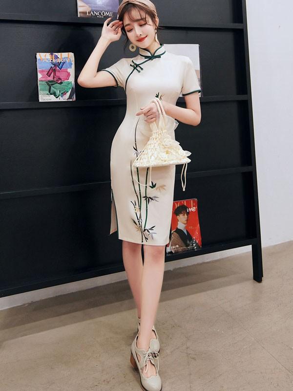 White Bamboo Short Qipao / Cheongsam Party Dress