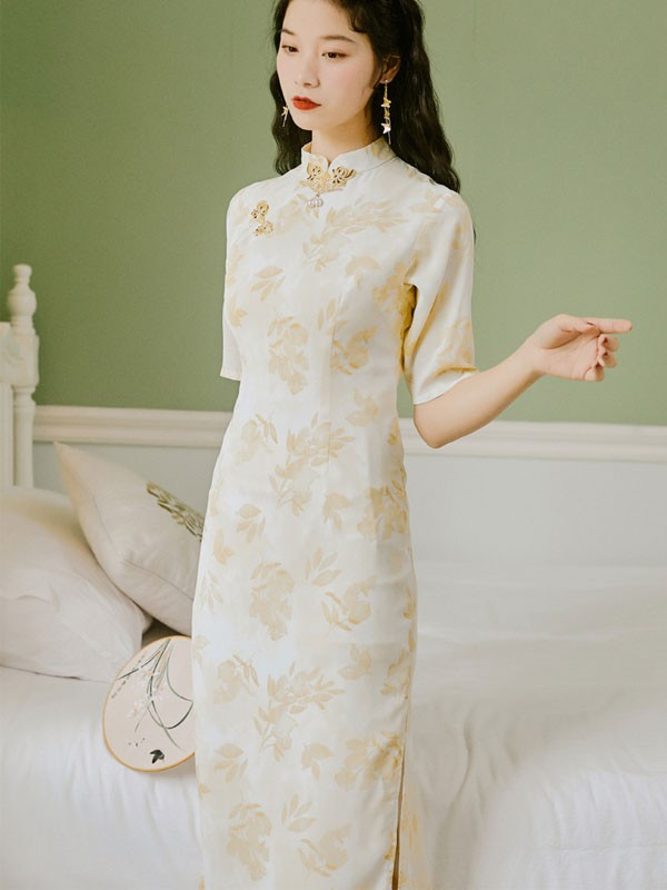 Yellow Floral Tea-Length Qipao / Cheongsam Dress
