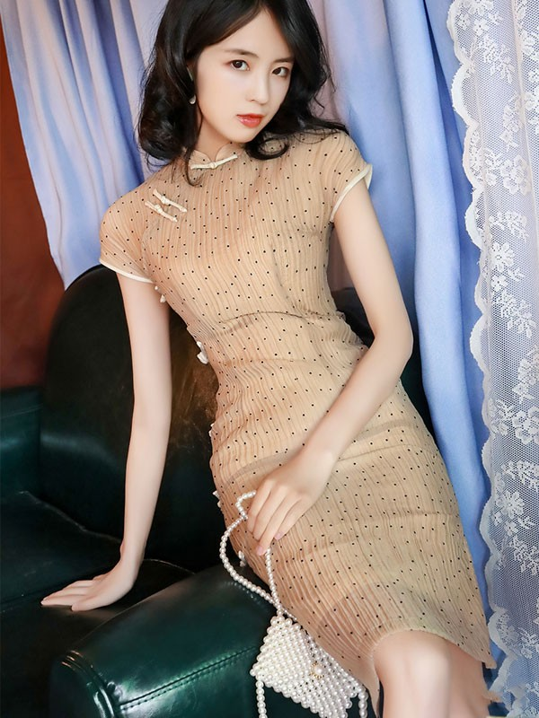 Summer Green Midi Modern Qipao / Cheongsam Dress