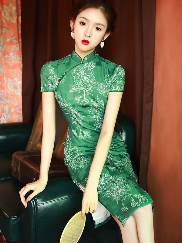 Green Summer Floral Midi Cheongsam / Qipao Dress