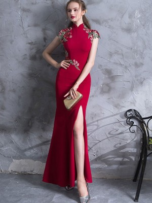 Red Embroidered Thigh Split Wedding Qipao / Cheongsam Dress