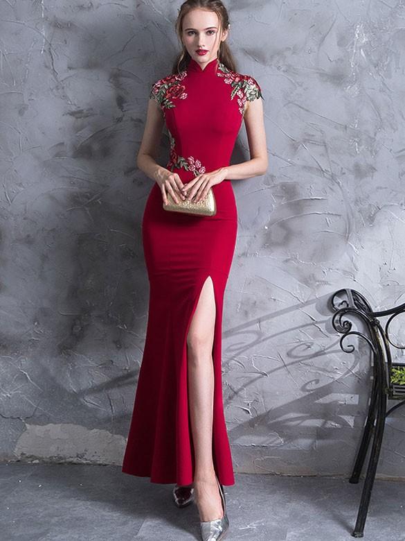 Red Embroidered Thigh Split Wedding Qipao / Cheongsam Dress