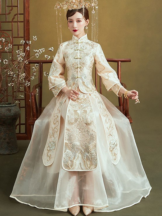 Champagne Summer Filmsy Embroidered Wedding Qun Kwa & Skirt