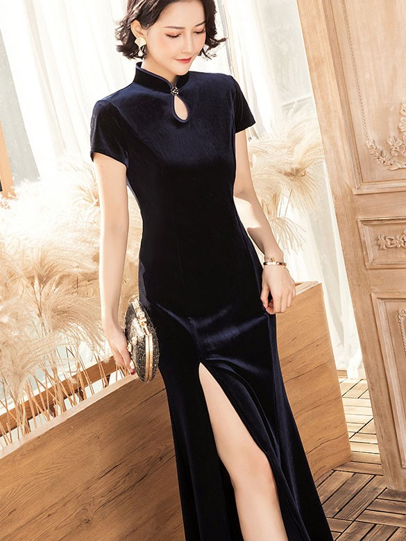 Blue Velvet Thigh Split Cheongsam / Qipao Party Dress