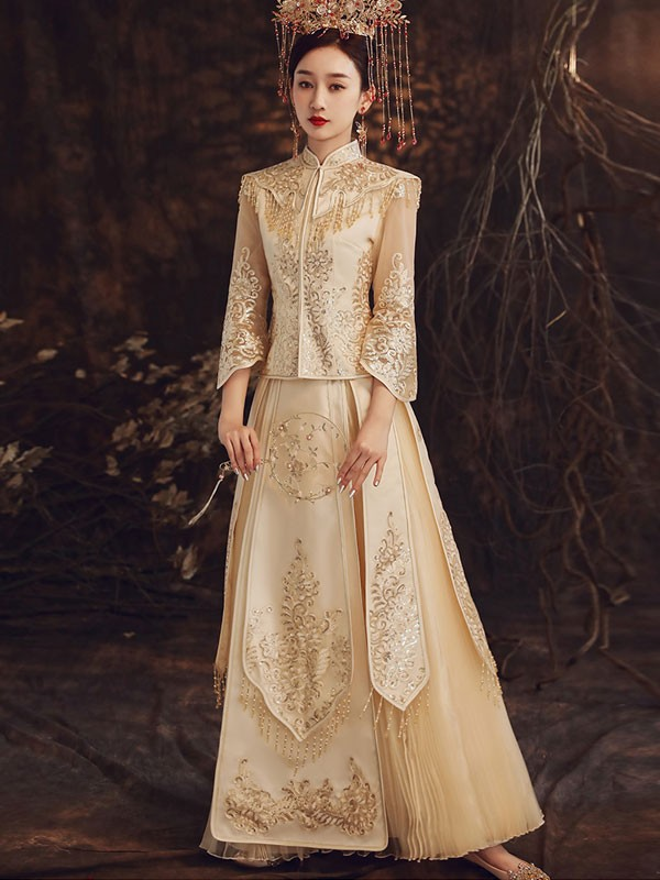 Summer Champaign Wedding Shawl Qun Kwa & Pleated Skirt