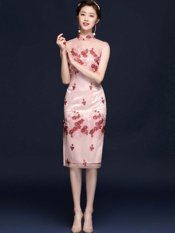 Pink Embroidered Illusion Qipao / Cheongsam Party Dress