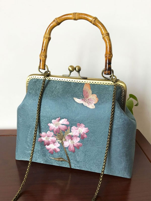 Handmade Blue Embroidered Chain Top Handle Clutch Bag