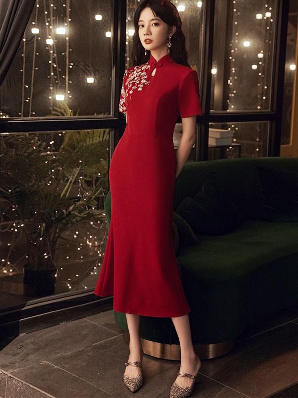 Burgundy Embroidered Qipao / Cheongsam Wedding Dress with Ruffle Hem