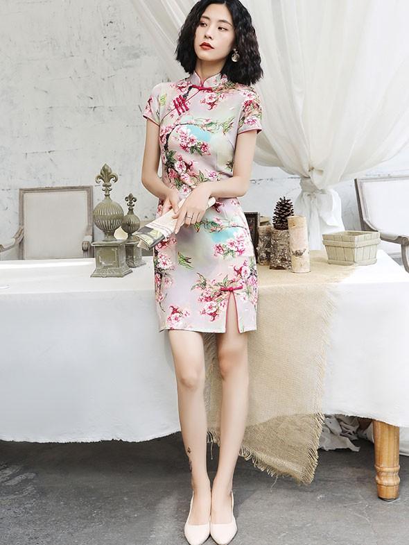 Pink Floral Short Modern Qipao / Cheongsam Dress