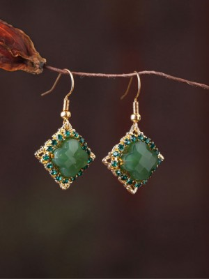 Green Jade Circon Drop Dangle Clip On Earrings
